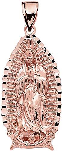 NC110 Collar con Colgante La Santísima Virgen María-Nuestra Señora de Guadalupe Colgante de Oro Rosa de 14 CT YUAHJIGE
