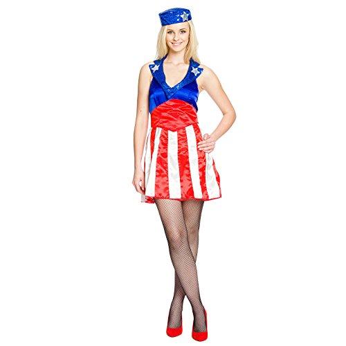 Elbenwald Kostüm Miss America 3-teilig für Damen mit Pailletten rot, blau, weiß - 36/38