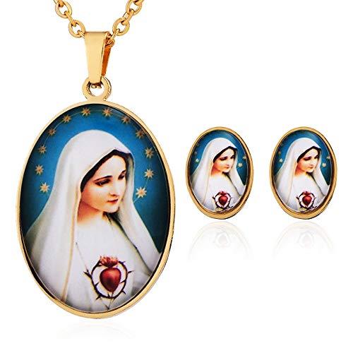 FUKAI Simple Religión Conjunto De Joyas De Acero Inoxidable Virgen María Encantos Colgantes Collares Stud Pendientes Joyas Exquisitas Damas Regalos