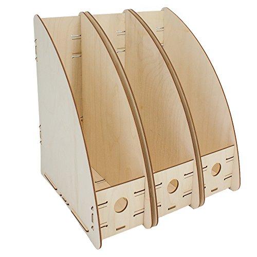MYORGA no.3 Stehsammler - Stehordner A4 aus Holz 3er Set - ordnen sortieren und archivieren von Zeitschriften Katalogen und Dokumenten - Made in Germany