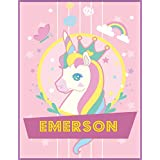 Emerson Unicorn Sketchbook For Girls: Personalized Unicorn Sketchbook For Princesses, Great birthday Gift For girls, Perfect Magical Unicorn Gifts for Her as Drawing, Doodle, Sketch, Create