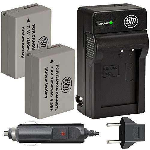 BM Premium 2-Pack of NB-7L Batteries & Battery Charger Kit for Canon PowerShot G10, G11, G12, SX30 is Digital Camera Includes Battery + AC/DC Battery Charger