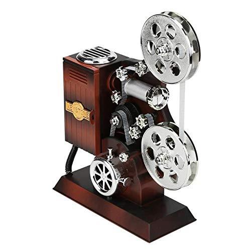 XiaoMall Retro-Film-Projektor, Musikbox, Holz, Metall, antike Spieluhr, Weihnachtsgeschenk für Kinder