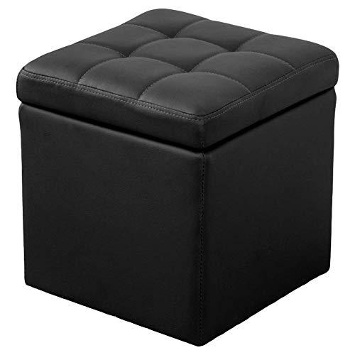 Taburete otomano para sofá, taburete de pie de piel sintética de almacenamiento, puf, banco, cubo de juguete con bisagra superior organizador, caja de puf, color negro 40 x 40 x 40 cm