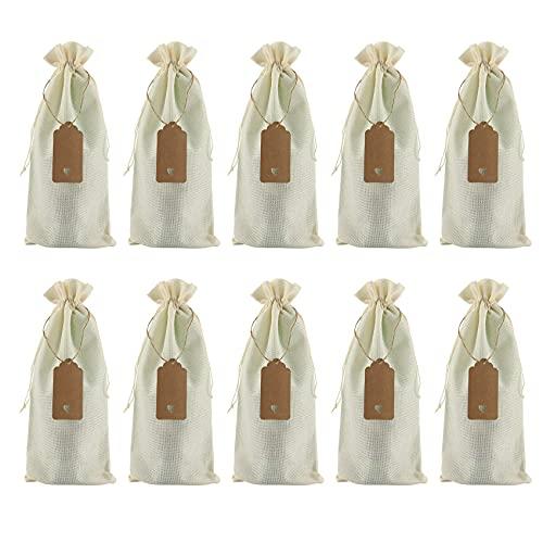 CKMSYUDG Bolsas de vino de arpillera, bolsas de regalo para vino con cuerdas, fundas reutilizables para botellas de vino con cuerdas y etiquetas, color blanco crema