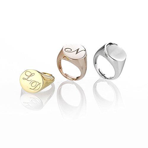 AleMi jewels Anello Chevalier Tondo - Oro Bianco, Anelli in Argento 925 Personalizzato