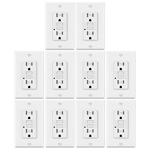 10 Pack - ELECTECK 15A/125V Tamper Resistant GFCI Outlets, Decor GFI Receptacles with LED Indicator, Residential and Commercial Grade, Decorator Wallplate Included, ETL Certified, White