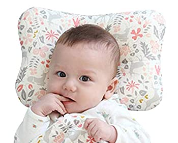 Baby Pillow for Newborn Breathable 3D Air Mesh Organic Cotton Protection for Flat Head Syndrome Bambi Pink