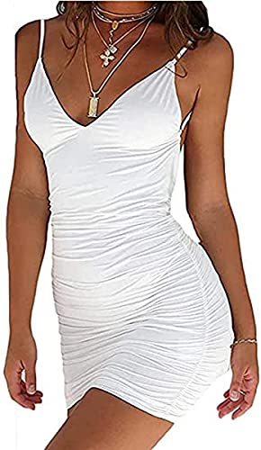 Geagodelia Vestito Estate da Donna Spalline con Scollo a V Sexy Mini Abito Senza Maniche Tinta Unita per Discoteca Partito Cerimonia Abiti Sera (Bianco, S)