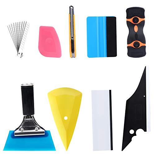 Fippy 9 STÜCKE Scheibentönungs Folienwerkzeug, Vinyl Wrap-Einbausatz, Auto Wraps Set Autofolien Werkzeug Einschließlich Scheibenwischer, Schaber, Universalmesser und Klingen