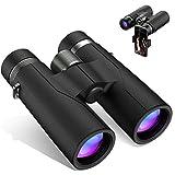 YVELINES 12X42 Binoculars for Adults and Kids,Professional Powerful Binoculars for Bird Watching with New Smartphone Adapter 18mm Large Eyepiece 16.5mm BAK4 Prism Lens Binoculars Hunting Waterproof