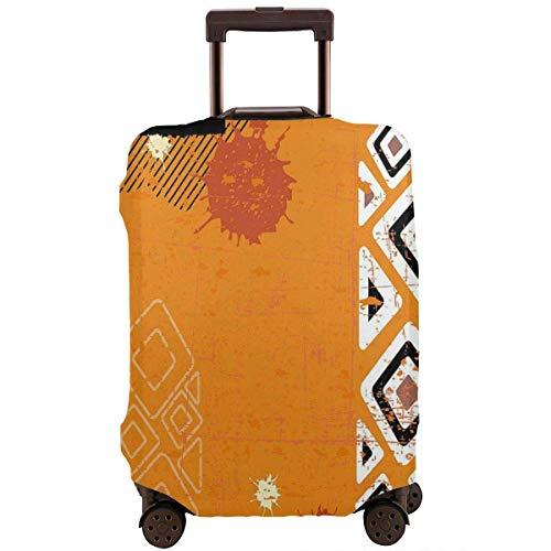 Protector de maleta de viaje Tribal Bold Lines Funda de equipaje naranja geométrica...