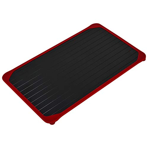 Defrosting Tray Extra Large | Rustic Red Silicone Border | Natural Eco Friendly Heating and Defrosting | No Electricity | No Chemicals | Thaw and Defrost Faster | Large Size for all Meat Vegetables