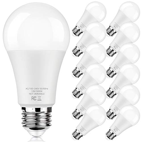 LED Light Bulbs 100W Equivalent 1500 Lumens, A19 13W 5000K Daylight White Non-Dimmable, Super Bright No Flicker Standard E26 Edison Screw Bulbs for Home, Bedroom, Office Lamp, 12-Pack