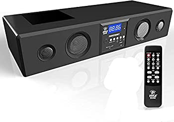 Pyle 3D Surround Bluetooth Soundbar - Sound System Bass Speakers Compatible to TV USB SD FM Radio with 3.5mm AUX Input  Remote Control For Home Theater TV - PSBV200BT,Black