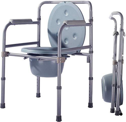 BYYD Toilettenstuhl Klappbett Kommode, Mobile Stahltoilette mit Kommode Eimer und Spritzschutz, ältere Menschen, schwanger, Behinderte