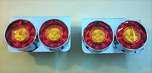 Lot de 2 feux arrière à LED en acier inoxydable 24 V pour camion, remorque, châssis, caravane, camping-car, bus