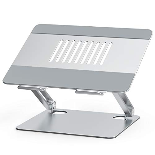 """Besign LSX2 Aluminum Laptop Stand, Ergonomic Adjustable Notebook Stand, Riser Holder Computer Stand Compatible with Air, Pro, Dell, HP, Lenovo More 10-15.6"""" Laptops (Silver)"""