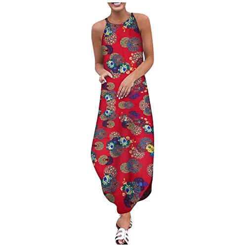 BIBOKAOKE Vestido largo de verano para mujer, de algodón, de lino, con estampado de libélulas y mariposas, sin mangas, con hombros descubiertos, elegante, para la playa