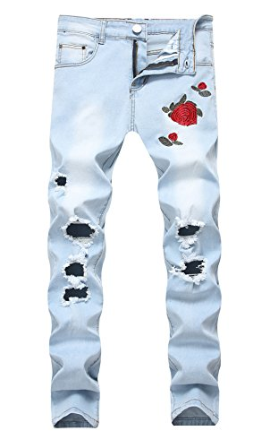 Men's Light Blue Skinny Fit Ripped Destroyed Rose Printed Stretch Jeans Pants