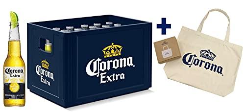 Corona Extra Kasten & Taschenzugabe - 20 Flaschen internationales Premium Lagerbier mit Original Corona Tragetasche, Geschenkpack, MEHRWEG Lager Bier Helles (20 x 0.355 l)