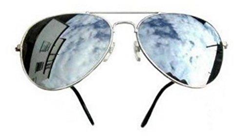 PURECITY© - Lunettes de soleil Aviateur - Pilote - Fbi - Monture argent - Verre effet miroir - Fashion tendance