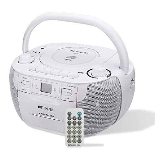 Retekess TR621 CD and Cassette Player Combo, Portable Boombox AM FM Radio, MP3 Player Stereo Sound with Remote Control, USB, TF Port, for Family(White)