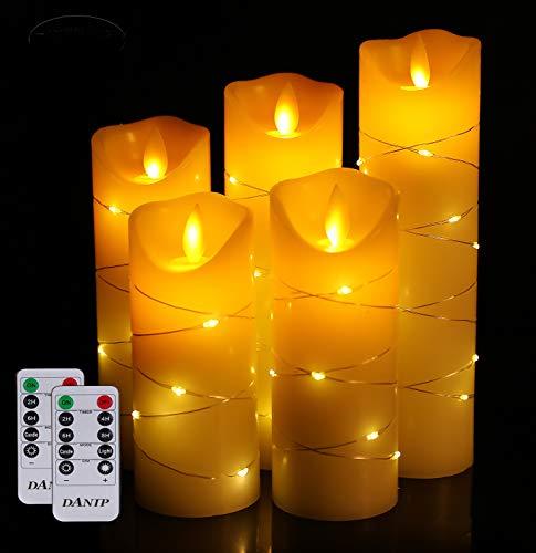 LED-Kerzen mit 10-Tasten-Fernbedienungsfunktion, 5 Lichterketten, tanzende Flamme, echtes Wachs.