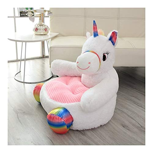 RxDZY Cartoon Animal Sofa Knuffels Teddy Bear Panda Unicorn Duck Kids Fauteuil Seat baby Nest Sleeping Bed Gevulde Kussen Kussen (Color : White unicorn)
