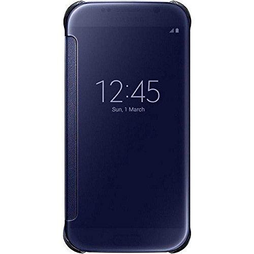 Samsung Handyhülle Schutzhülle Protective Case Cover mit Clear View Klarsicht Cover für Galaxy S6, schwarz