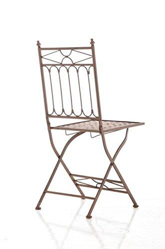 CLP Eisen-Klappstuhl ASINA Design I Klappbarer Gartenstuhl mit edlen Verzierungen I erhältlich, Farbe:antik braun