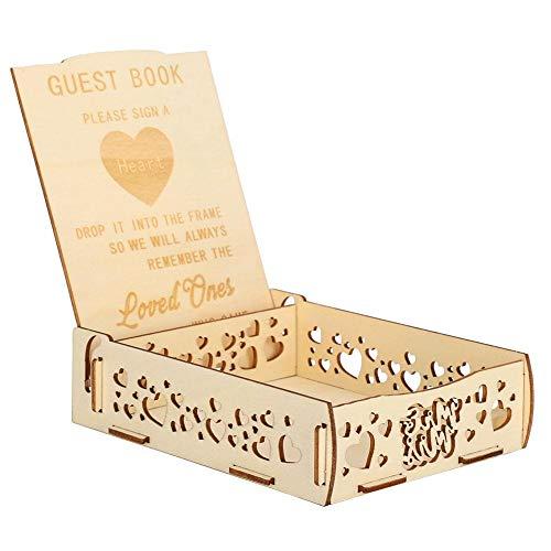 Mumusuki Corazón de Madera Libro de visitas Caja de Mensaje Titular de la Tarjeta de Regalo Boda romántica Suministros de Firma Decoración