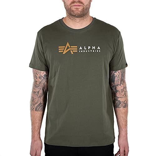 ALPHA INDUSTRIES Herren T-Shirt Alpha Label Dark Olive (XX-Large, xx_l)