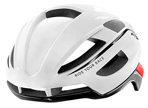 R&R Rennradhelm AERO  Fahrradhelm   Radhelm   Mountain Bike   MTB-Helm   Triathlon-Helm für Damen und Herren (weiß/rot, M (54-58cm))