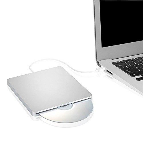 Ploveyy USB External DVD CD Drive Burner Superdrive DVD-R Player for All System 98SE ME 2000 XP Vista Win7 for Apple Mac Macbook Pro/ Air iMac (Silver)