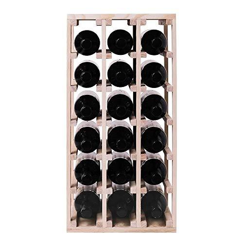 IUYJVR Bastidores de Vino Almacenamiento de Estante de Vino Cuadrado para Botellas de Vino en un Estante de Vino Hecho en Madera (Pino, 40 Botellas) (Color : Pine, Size : 18 Bottles)