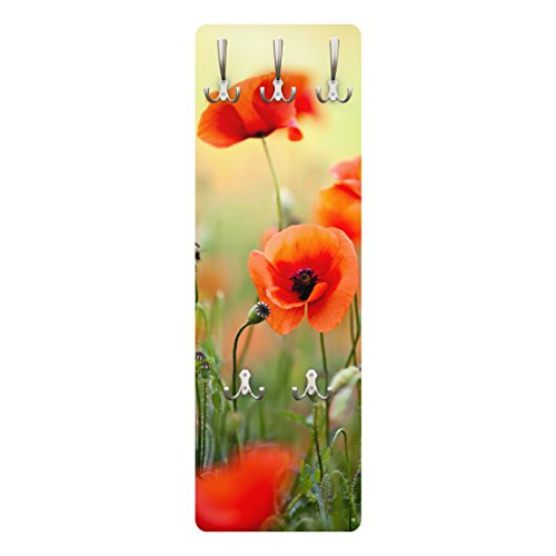 Bilderwelten Garderobe Flurgarderobe Blumen Roter Sommermohn Rot 139 x 46 cm