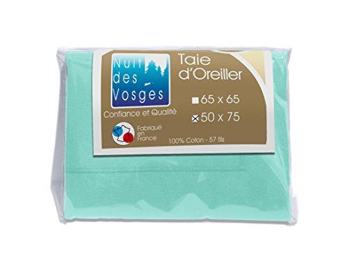 Nuit des Vosges 2098211 Cotoval Taie d'Oreiller Uni Coton Turquoise 50 x 75 cm
