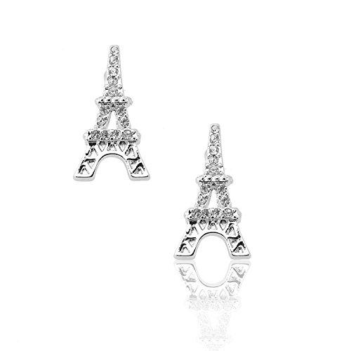 Spinningdaisy Silver Plated Ooh La La Eiffel Tower Earrings
