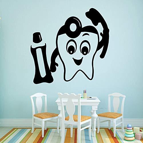 Etiqueta engomada de la pared del vinilo de los dientes de la historieta etiqueta engomada de la pared de la decoración de la habitación de los niños Mural Mural creativo A8 XL 58x60cm