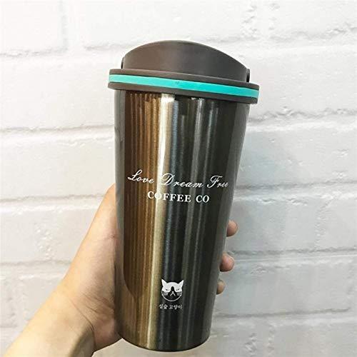 YWYW Taza de Viaje, frascos de vacío de Acero Inoxidable de Doble Pared de 500 ml, Termo para automóvil, Taza de Viaje, termos portátiles, Vasos portátiles, café, té, Termo, para café, Vino, cóct