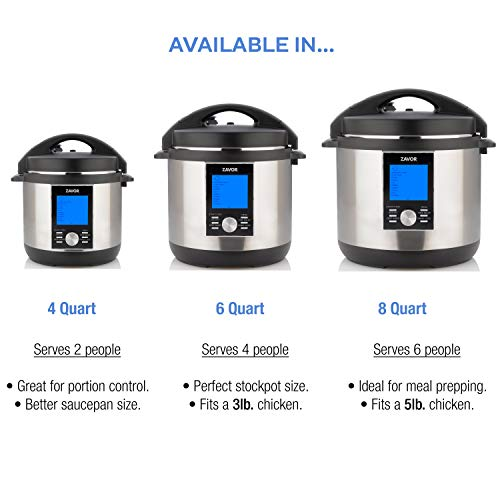 Zavor LUX LCD 8 Quart Programmable Electric Multi-Cooker: Pressure Cooker, Slow Cooker, Rice Cooker, Sous Vide, Yogurt Maker, Steamer and more - Stainless Steel (ZSELL03)