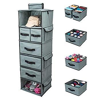 SMIRLY Hanging Closet Organizer Shelves Grey 6 Shelf Closet Storage with 5 Clothes Organizer Drawers and Purpose Made Pockets Sweater or Shoe Organizer Baby Nursery Closet Organization and Storage