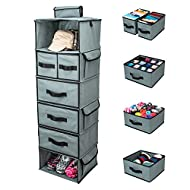 SMIRLY Hanging Closet Organizer Shelves. Grey 6 Shelf Closet Storage with 5 Clothes Organizer Drawers and Purpose Made Pockets. Sweater or Shoe Organizer, Baby Nursery Closet Organization and Storage