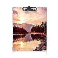クリップボード 風景 ミニバインダー 日没時のグランドティトン山脈ジャクソンレイクカーム国立公園アメリカ合衆国装飾 用箋挟 クロス貼 A4 短辺とじピーチライトイエロー