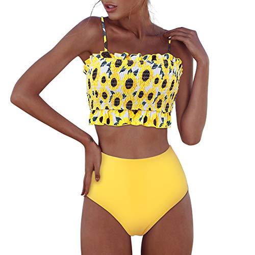 RXRXCOCO Womens Shirred Bandeau Bikini Cute Two Piece Swimsuit Off Shoulder High Waist Bathing Suit Yellow-2 Large