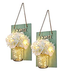 HABOM Rustic Mason Jar Wall Decor Sconces – Decorative Home Lighted Country House Hanging with LED Fairy Strip Lights and Flowers Hydrangea Farmhouse Sconce Jars (Set of 2)