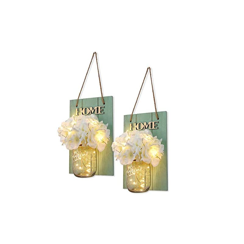 silk flower arrangements habom rustic mason jar wall decor sconces - decorative home lighted country house hanging with led fairy strip lights and flowers hydrangea farmhouse sconce jars (set of 2)