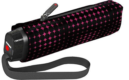 Knirps TS.010 Small Manual Regenschirm Taschenschirm Mini Schirm klein & leicht ideal für die Handtasche Stars Black