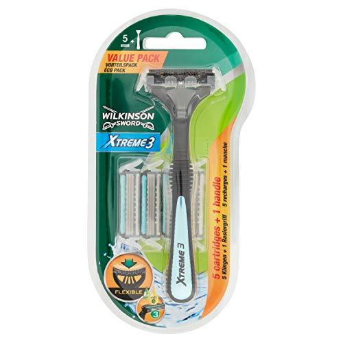Wilkinson Sword - Rasoio Xtreme 3 Hybrid - Rasoio a 3 Lame per Uomo - Confezione da 1 Manico + 5 Ricariche